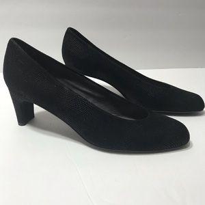 Stuart Weitzman black beaded round toe heels sz 8